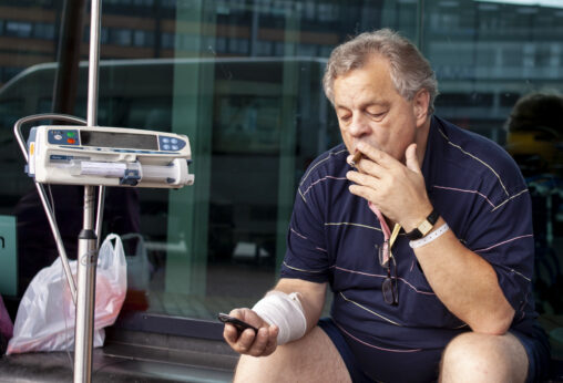 Smokers outside the hospital doors 3